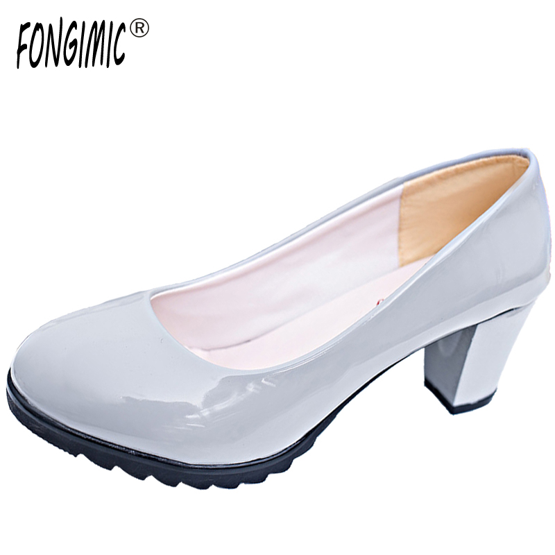 Fashion Style Women Pumps Square Heel Comfortable Wear Female Shoes Solid High Heels Office Career Hot Sale Slip-on Round Toe 2017 hot sale fashion style classic women pumps leisure round toe slip on med heels mature office lady easy walking hot shoes