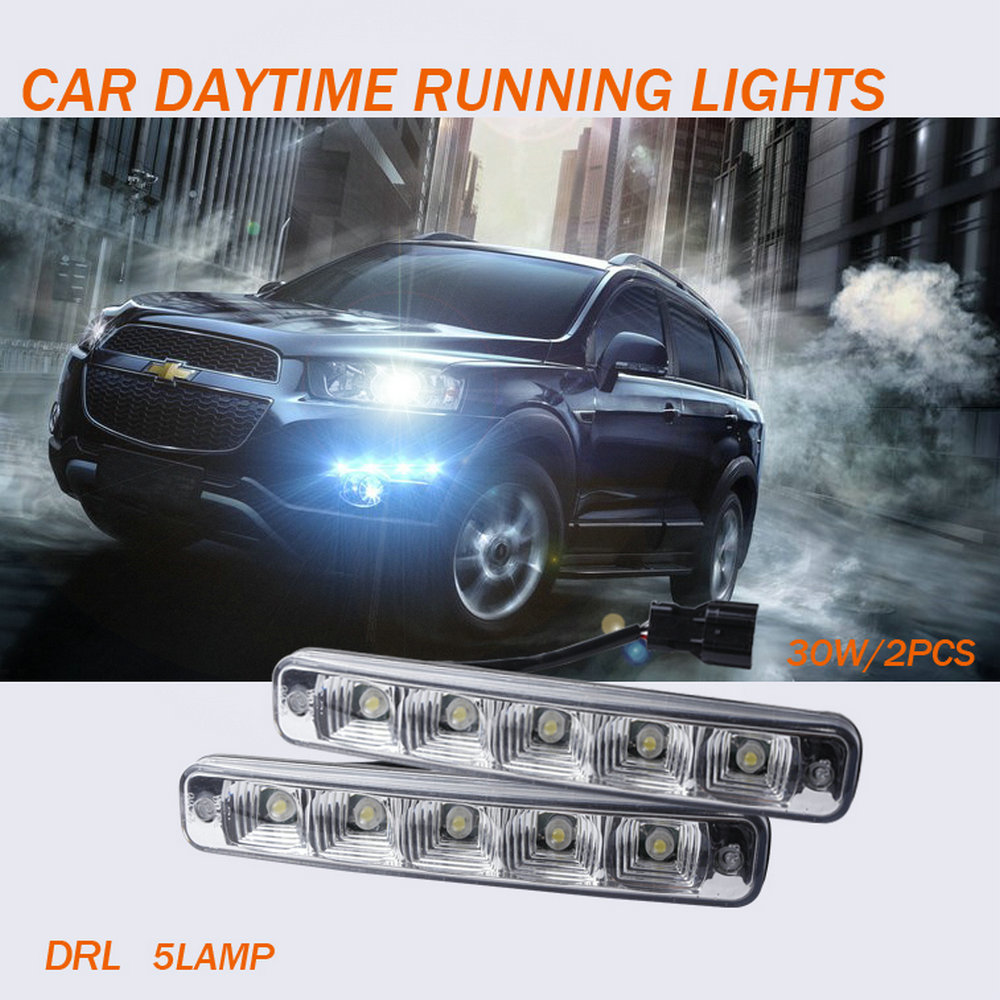 2pcs White Universal DC <font><b>12V</b></font>/24V 5 <font><b>lamp</b></font> LED Daytime Running Light Super Car Fog Driving Installation Bracket Vehicles 30W <font><b>E4</b></font> image