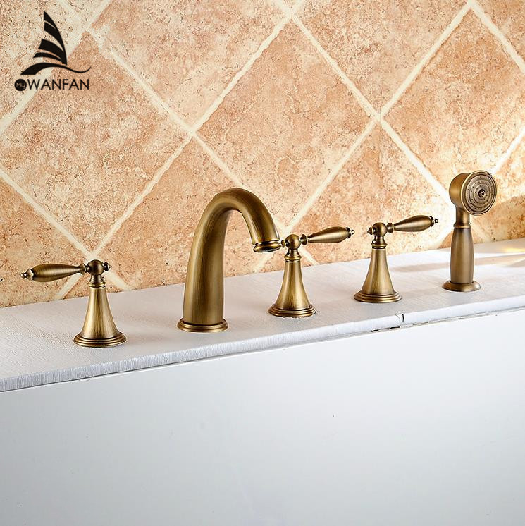 Basin Faucets Antique Brass Deck 5 Holes Bathtub Mixer Faucet Handheld Shower Widespread Bathroom Faucet Set Water Tap AST1147 luxury bathroom rain shower faucet set antique brass handheld shower head two ceramics lever bathtub mixer tap ars003