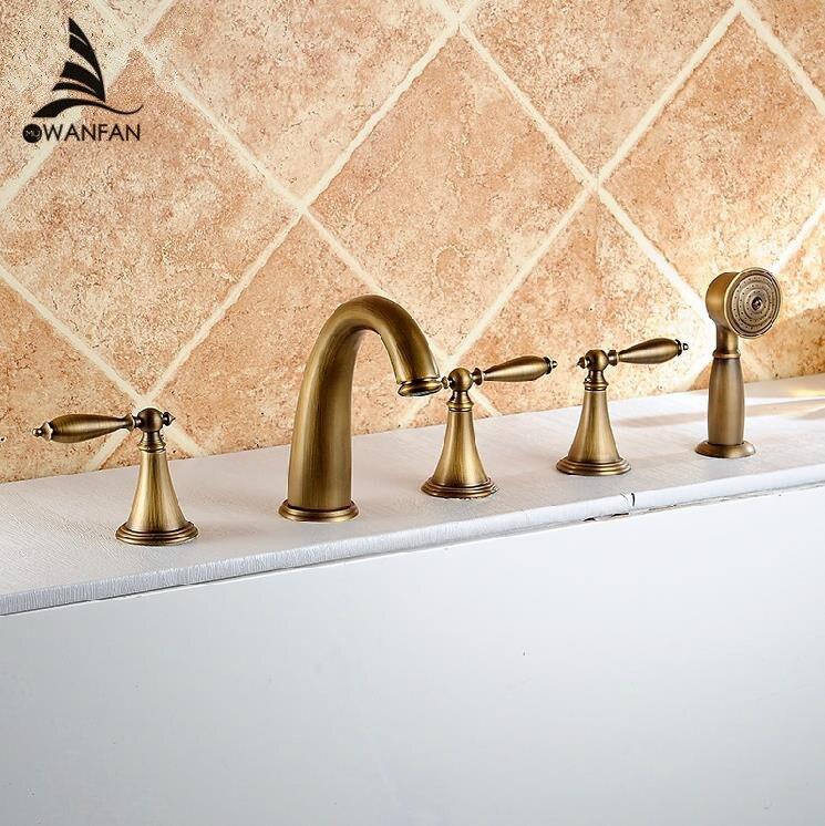 Torneiras de lavatório de Bronze Antigo Deck 5 Furos Banheira Misturador Torneira Do Chuveiro Handheld Set Torneira Água Da Torneira Do Banheiro Generalizada AST1147