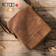 AETOO Retro casual backpack leather men bag shoulder Messenger bag head layer cowhide men postman package crazy horse skin men w цена