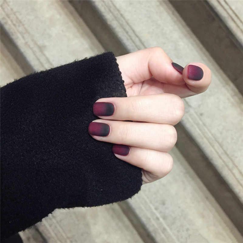 24 sztuk/zestaw eleganckie wino czerwony Gradient sztuczne gradientu krótki pełna pokrywa sztuczne paznokcie naciśnij na paznokci sztuczny paznokieć porady z klejem