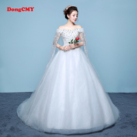 DongCMY Long White Color Bandage Trailing Chapel Train Wedding Gown