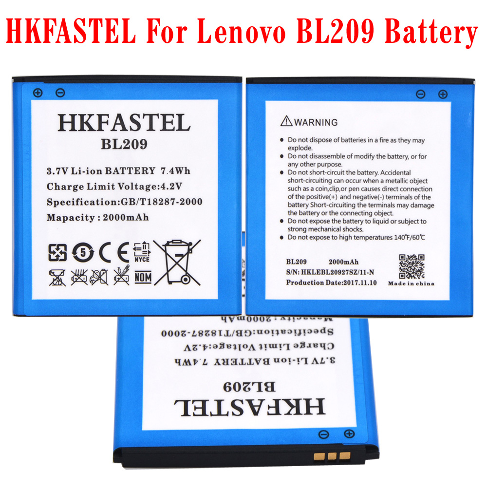 HKFASTEL BL209 <font><b>BL</b></font> <font><b>209</b></font> new original Mobile phone battery For Lenovo A706 A788T A820E A760 A516 A378T A398T batteries 2000mAh image