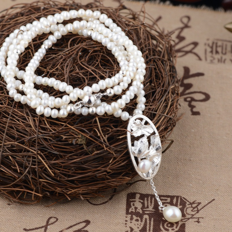 S925 sterling silver necklace pearl necklace silver styleS925 sterling silver necklace pearl necklace silver style
