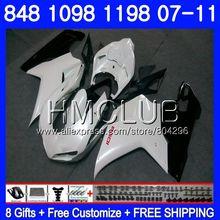 Комплект для DUCATI 848R 1098R 848 1098 1198 07 08 09 10 11 130HM. 15 1098 s 848 S R 1198 S жемчужно-белый 2007 2008 2009 2010 2011 обтекателя
