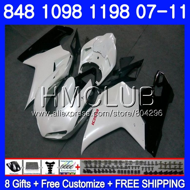 Kit Per DUCATI 848R 1098R 848 1098 1198 07 08 09 10 11 130HM. 15 1098 s 848 s R 1198 s Bianco Perla 2007 2008 2009 2010 2011 Carenatura
