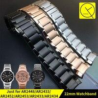 Curved Stainless Steel Watchband For Armani AR2448 AR2433 AR2452 AR2453 AR2433 Watch Bracelet Butterfly Buckle Strap
