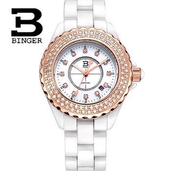 Genuine Luxury BINGER Brand ceramic Women quartz watch fashion casual lady rhinestone diamond waterproof quartz dress table BBPS
