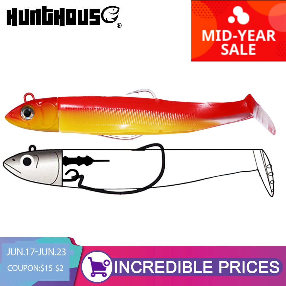 Hunthouse black minnow 100mm 25g fishing lure soft pike lure lead jig bait roofvissen kunstaas bass fishing leurre souple shad