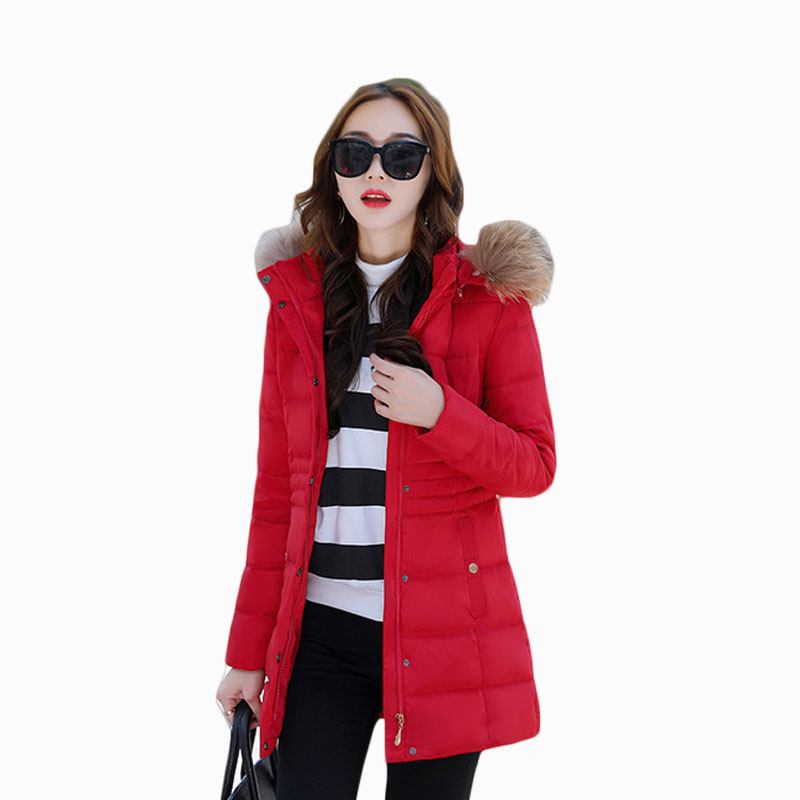 2017 NEW HOT SALE WOMEN WINTER JACKER MID-LENGTH LARGE FUR COLLAR HOODED THICKEN WARM FEMALE PARKAS COTTON WADDED ZL588