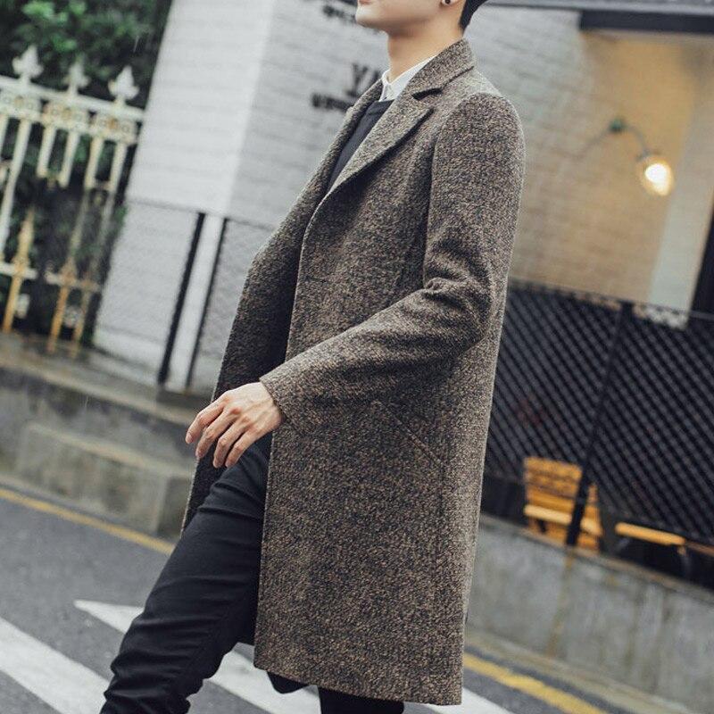 Новинка, мужской длинный тренч, мужской модный шерстяной тренч, ветровка, стимпанк, мужское пальто, повседневная верхняя одежда, пальто, C75NF21 - 5