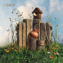 Laeacco Wooden Bird House Grassland Flower Fairytale Photocall Photography Background Customized Backdrops For Photo Studio