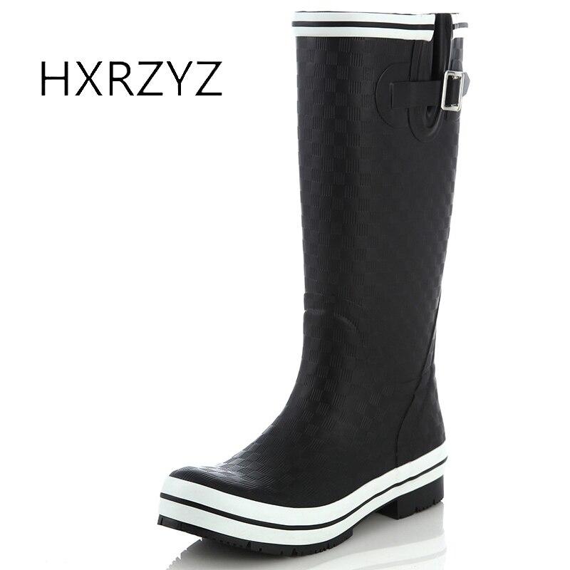 Hxrzyz женские непромокаемые сапоги резиновые водонепроницаемые черные ботинки с высоким голенищем модные классические противоскользящие и...