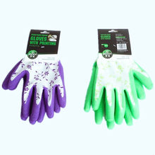 1Pair Durable gardening Gloves for Garden planting work Puncture-proof Gloves with printing hand protecter home use purple glove