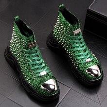Zapatos con remaches de cuero suave para hombre, botines de motocicleta con plataforma, estilo punk, para fiesta de graduación y otoño