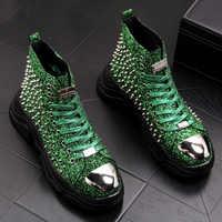 men luxury fashion prom nightclub dress soft leather rivets shoes platform motorcycle punk ankle boots zapatos de hombre autumn
