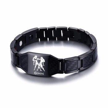 Vnox 12 Horoscope Sagittarius Symbols Power Bracelets for Men Stainless Steel Insert Carbon Fiber Heavy Punk Wristband 9