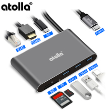 atolla USB 3.1 Hub, 8-in-1 C HDMI Hub and Ethernet Aluminum Adapter,4K Port, Gigabit SD / TF Card Reader