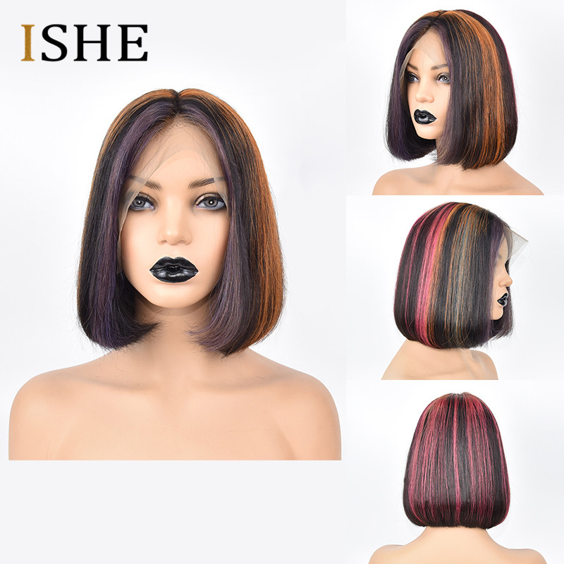 13x6 Lace Front Human Hair Wigs Straight Ombre Mixed Blonde Pink Red Bob Wigs Glueless Preplucked