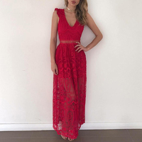 DERUILADY New Vintage Style Vestidos Women Summer Dress Sexy Hollow Out Party Maxi Dresses Elegant Female