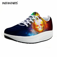 INSTANTARTS Brand Designer Cool Skull Women Platform Shoes Classic Galaxy Height Increasing Shoes Woman Spring Flats Shaps Ups