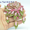 Bayliner Fashion Jewelry Art Deco Pink Rose Flower Brooch Pins For Women Rhinestone Crystals Brooches Bouquet Jewelry BLN6454