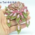 Bayliner Moda Jóias Art Deco Pink Rose Flor Broche Pinos Para Mulheres Cristais de Strass Broches Bouquet Jóias BLN6454