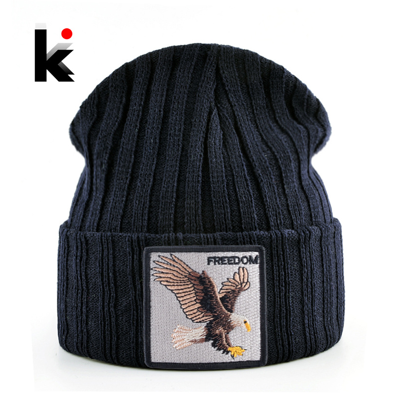 Knitted   SKullies     Beanies   Men Hip Hop Solid Hat With Embroidery Eagle Patch Double Layer Knit Bonnet Women Streetwear Kpop Gorras