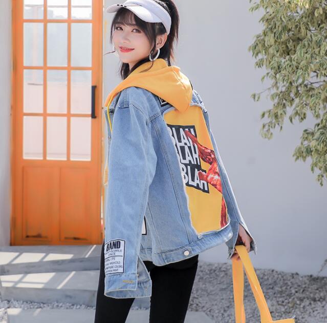 Denim jacket female 2019 new loose hooded denim jacket student autumn loose patch female jacket 32