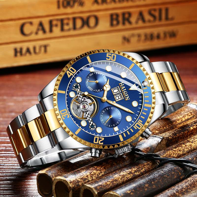 HAIQIN Men Automatic Mechanical Watch Luxury Brand Military Watch 100m Waterproof Wristwatch Mens Sport Clock Relogio Masculino