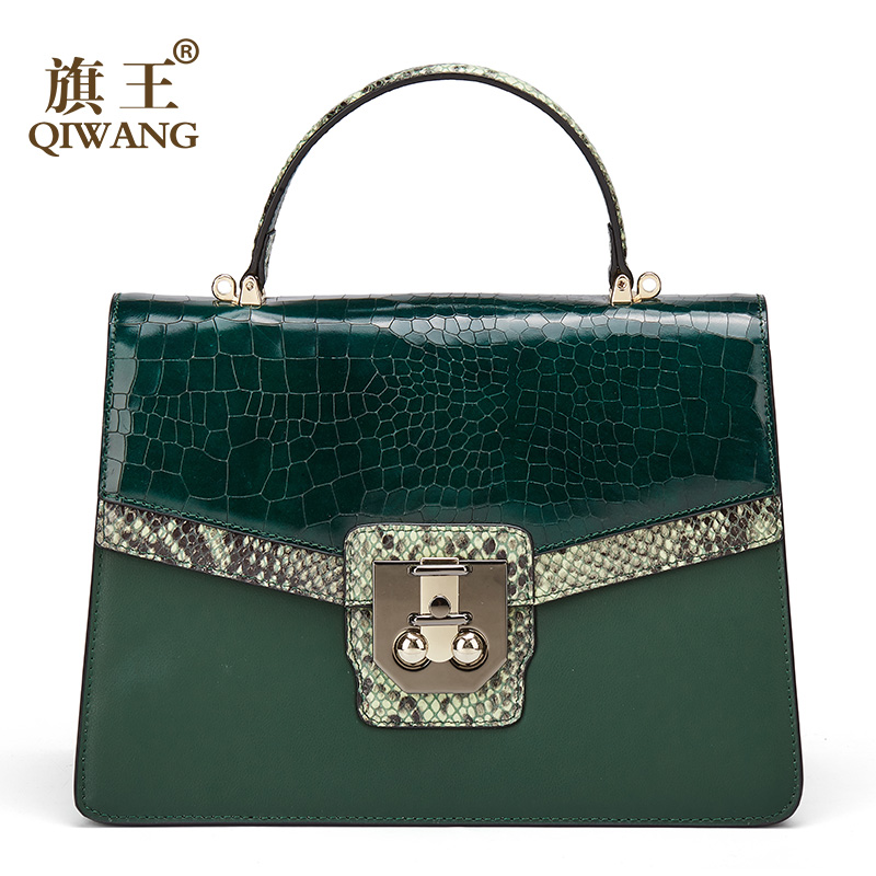 Qiwang Original 100% Genuine Leather Bag Cowhide Women Handbags High Quality Green Crossbody Shoulder Bags Snake Pattern 2019