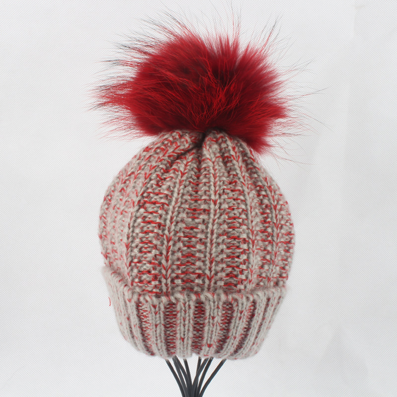 Children Acrylic Skullies Beanies Hats 15CM Raccoon Fur Pom Pom Hat Female Winter Warm Caps Fashion Headgear LF4081 skullies