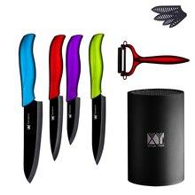 """Keramik Messer Set 3 """"4"""" 5 """"6"""" schäl Zoll-dienstprogramm Slicing Chef Messer + Eine Rote Schäler Mit Messerständer Küchenmesser Küchenutensilien"""