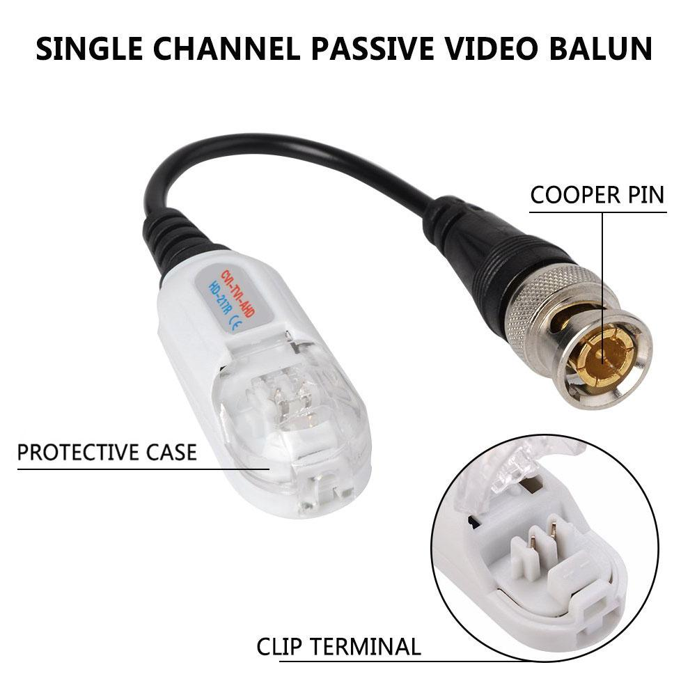 20pcs CCTV Video Balun Anti Thunder Twisted Passive Video Transceiver BNC CCTV Accessories R20