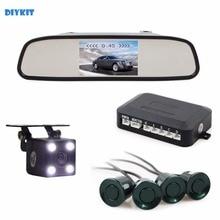 DIYKIT Video Parking Radar four Sensors four.three Inch Automotive Mirror Monitor + four x LED Automotive Rear View Digital camera Parking Help System