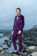 2018 Latest Coat Pant Design Purple Velvet Men Suit Slim Fit 2 Piece Tuxedo Custom Groom