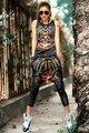 Tanques das mulheres 2016 Novo Verão Colete Ocasional das Mulheres da Cópia Do Tigre tanque Mulher Encabeça Hip Hop Roupas Show de Dança Traje Um tamanho