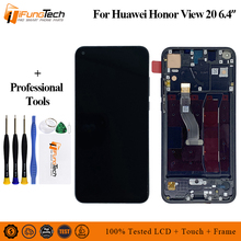 Black 6.4 inch LCD For Huawei Honor V20 PCT-AL10 / For Honor View 20 LCD DIsplay + Touch Screen Digitizer Assembly with Frame for huawei u9508 honor 2 lcd screen display with black touch screen digitizer frame assembly by free shipping 100% warranty
