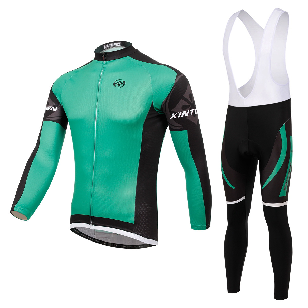 XINTOWN Dimon green bike riding jersey harness long-sleeved suit wear cycling suits fleece wind warm functional underwear