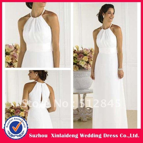 YD 12061192 Lovely White Necklace Halter Chiffon Civil Wedding Dress ...