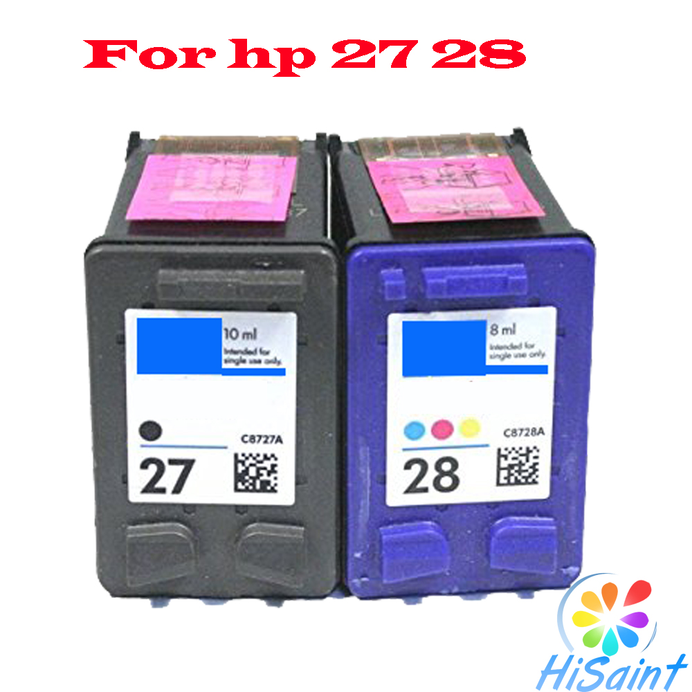 Hot 2pk For hp 27 28 Ink Cartridge, For hp27 For hp28 HP Deskjet 3320 3325 3420 3535 3550 3650 3744 Printer Models Free shipping