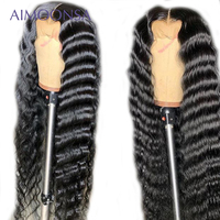 Transparent Lace Wigs 13x6 lace front wig Long Loose Wave Wig For Women Natural Hairline invisible knots Remy Hair Aimoonsa