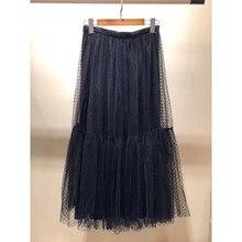 SE Women Embroidery Long Dot Tutu Skirt High Waist Pleated Large Elegant Party Pendant Maxi Fashion Runway