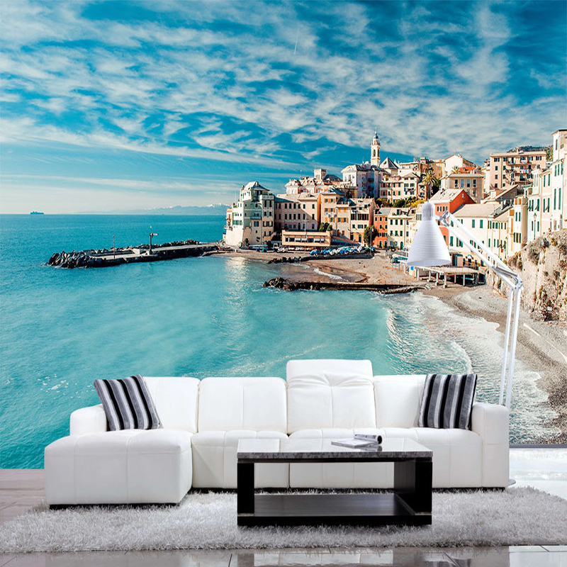 small island town 3d wallpaper custom home decorating painting livingroom bed room wallpaper blue sky fresh simple home decor