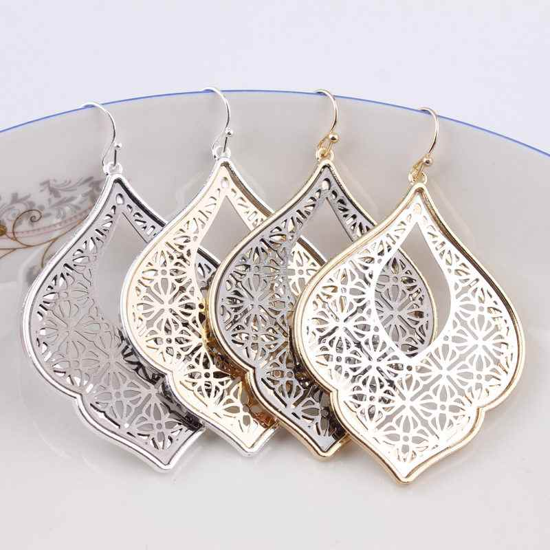 ZWPON 2018 New Party Dress Morocco Teardrop Earrings for Women Fashion Two Tone Zinc Alloy Cutout Statement Earrings Wholesale
