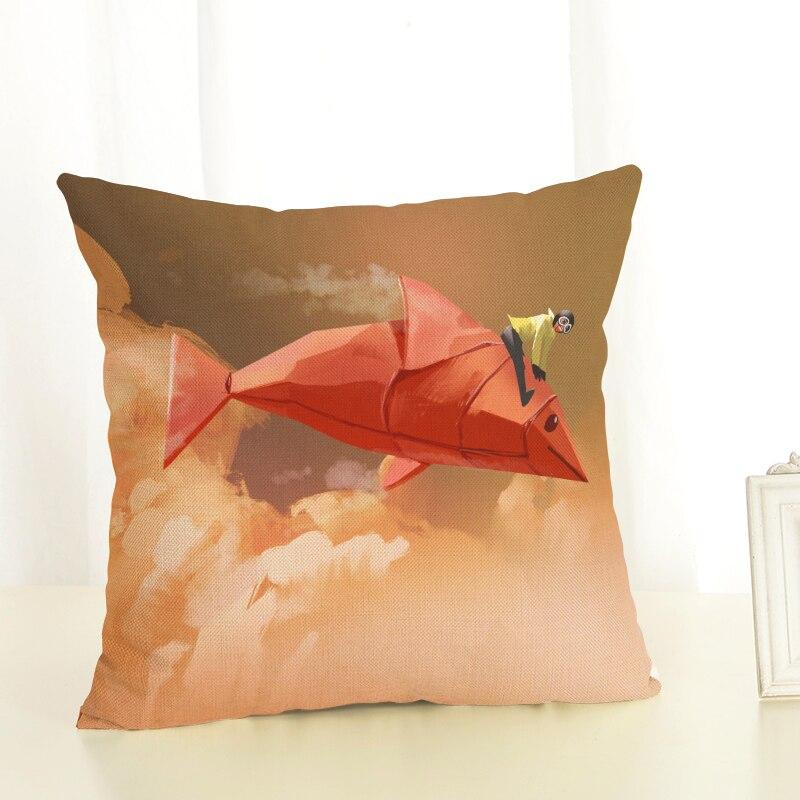 RECOLOUR scenic Moon boat Cushion Cover throw pillows Home Decor Pillowcase pillow cover cojines decorativos para sofa in Cushion Cover from Home Garden