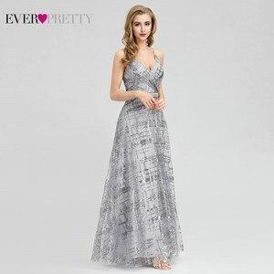 Image 4 - Ever Pretty, серые вечерние платья с блестками, Длинные вечерние платья с v образным вырезом и разрезом по бокам, сексуальные блестящие вечерние платья EP07957GY Abiye Gece Elbisesi