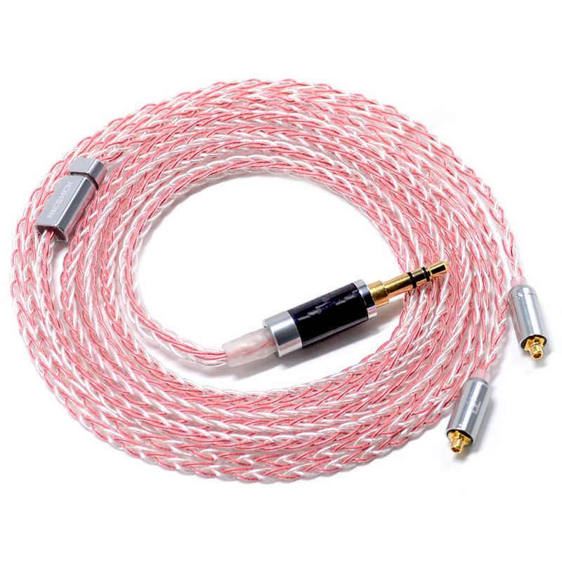 NICEHCK MMCX/2Pin złącze 3.5/2.5/4.4mm wyważone 8 rdzeń srebrny miedzi mieszane kabel do ZS10 AS10 TFZ NICEHCK M6/DT300/DT500/HK6