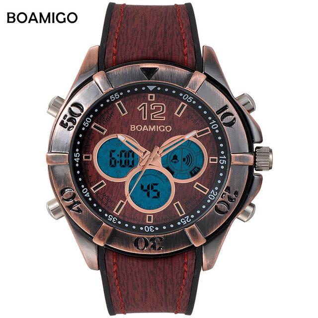 Los hombres de pantalla dual relojes deportivos antiguos analógico led digital quartz reloj boamigo marca diseño retro vintage punk reloj de goma roja